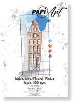 (Art.no. 364130) PapiArt 150x210 mm 350 grs. Aquarel/Mixed Media Bright White 12 vel