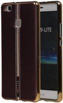 M-Cases Bruin Leder Design TPU back case cover hoesje voor Huawei P9 Lite