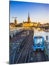 Uitzicht op een spoorweg Aluminium 120x180 cm - Foto print op Aluminium (metaal wanddecoratie) XXL / Groot formaat!