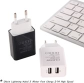 Olesit 3.1A 15,5W Fast Charge Adapter 2 Poort Lader Snellader Oplader 2 Poorten + Lightning Kabel 3 Meter Fast Charge