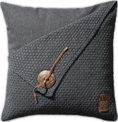 Knit Factory Barley - Sierkussen - 50x50 cm - Antraciet