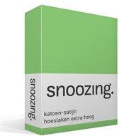 Snoozing - Katoen-satijn - Hoeslaken - Extra Hoog - Eenpersoons - 90x200 cm - Lime
