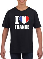 Zwart I love France supporter shirt kinderen - Frankrijk shirt jongens en meisjes S (122-128)
