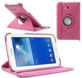 Samsung Galaxy Tab 3 7.0 Lite T110 T111 Hoes Cover 360 graden draaibare Case Beschermhoes roze