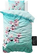 Sleeptime Cherry Blossom - Dekbedovertrek - Eenpersoons - 140x200/220cm - Turquoise