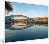 Foto in lijst - De brug is weerspiegelt in een rivier in Georgië fotolijst wit 40x30 cm - Poster in lijst (Wanddecoratie woonkamer / slaapkamer)
