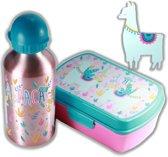 Alpaca broodtrommel + aluminium drinkfles Roze   Lunchbox meisjes LS14