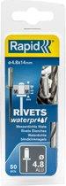 Rapid Waterdichte blindklinknagel Ø 4,8 x 14 mm 50 stuks + boortje