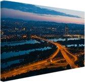 Wenen bij nacht Canvas 30x20 cm - Foto print op Canvas schilderij (Wanddecoratie woonkamer / slaapkamer) / Steden Canvas Schilderij