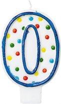 Amscan Verjaardagskaars 0 - Polka Dots 7,6 Cm Blauw/wit
