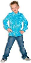 Ruches blouse satijn turkoois