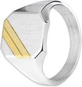 The Jewelry Collection Graveerring Gediamanteerd - Zilver met geelgoud