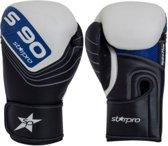 Leren bokshandschoenen Starpro S90   zwart-wit-blauw 16 oz