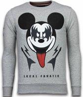 Local Fanatic Kiss My Mickey - Rhinestone Sweater - Grijs - Maten: M