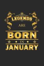 Legends Are Born In January: Notizbuch, Notizheft, Notizblock - Geburtstag Geschenk-Idee f�r Legenden - Karo - A5 - 120 Seiten