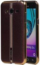 M-Cases Bruin Leder Design TPU back case hoesje voor Samsung Galaxy J3 2016