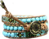 Bela Donaco wikkelarmband Bohemian Blue - Turquoise en Glas