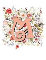 M Monogram Letter Floral Wreath Notebook