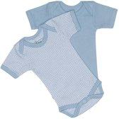 ISI MINI - Romper korte mouwen Teddy - maat 50/56 - Blauw - Set van 2