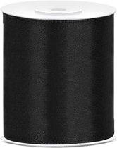 Satijnen lint | Zwart | 10 cm / 25 meter | Openingslint