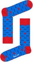 Happy Socks Key to my Heart Sokken - Blauw/Rood - Maat 41-46