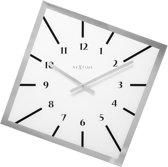 NeXtime Off Balance - Klok - Glas - 56x3.5 cm - Wit/ Zwart / Zilver
