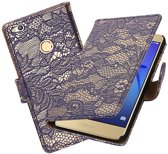 BestCases.nl Blauw Lace booktype wallet cover hoesje voor Huawei P8 Lite 2017 / P9 Lite 2017
