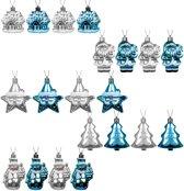 Decoratieve Kerstballen set - 20 stuks assorti - Plastic / Kunststof - Blauw/Zilver - geschikt voor binnengebruik en buitengebruik