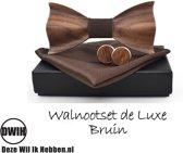 Walnoot houten strik deluxe met manchetknopen en Pochette, Bruin