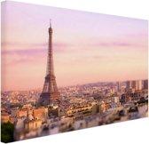 Zonsondergang over Parijs Canvas 180x120 cm - Foto print op Canvas schilderij (Wanddecoratie woonkamer / slaapkamer) / Steden Canvas Schilderijen XXL / Groot formaat!