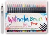 Waterbrush pennen (set 20 kleuren) - ideaal voor tekenen en handlettering -  Inclusief water penseelstift