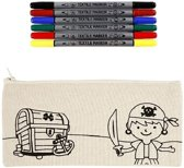 Kleurset etui piraat met textielstiften