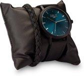 Frank 1967 7FR SET028 Horloge Set met Armband - Leren Band - Ø 42 mm - Zwart / Blauw