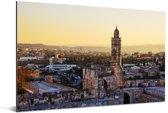 Toren van David midden in het stadsgezicht van het Israëlische Jeruzalem Aluminium 90x60 cm - Foto print op Aluminium (metaal wanddecoratie)