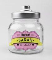 Snoeppot - Sarah - Gevuld met luxe verpakte toffees - In cadeauverpakking met gekleurd lint