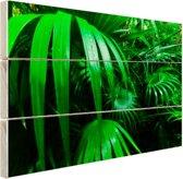 FotoCadeau.nl - Palmbladeren in de jungle Hout 80x60 cm - Foto print op Hout (Wanddecoratie)