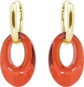 Zilveren Goudkleurige Oorbellen met Swarovski Elements Helios Red Magma Oranje Rood 20MM