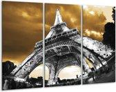 Glasschilderij Eiffeltoren | Grijs, Bruin, Zwart | 120x80cm 3Luik | Foto print op Glas |  F003002