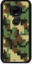 Moto G7 / G7 Plus Hardcase hoesje Pixel Camouflage Green
