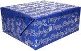 Holografisch inpakpapier blauw met tekst happy birthday - 200 x 70 cm - cadeaupapier / kadopapier