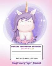 Primary Composition Notebook Grades K-2 Magic Story Paper Journal: Picture drawing and Dash Mid Line hand writing paper - Light Unicorn Design