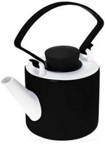 Qdo Theepot Porselein - Cylinder - Met Clip Handvat - 1 liter - Zwart