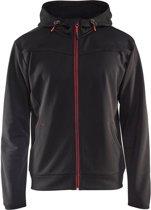 Blåkläder 3363-2526 Hoodie met rits Zwart/Rood maat XL