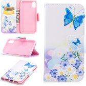 Let op type!! iPhone 7 & 8 horizontaal Kleurrijk vlinders en bloemen patroon PU leren Flip Hoesje met houder en opbergruimte voor pinpassen & geld