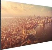 FotoCadeau.nl - Vogelvlucht over Manhattan Aluminium 90x60 cm - Foto print op Aluminium (metaal wanddecoratie)