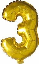 Folie Ballon Cijfer 3 Goud 41cm met rietje