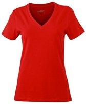 Rood dames stretch t-shirt met V-hals XL