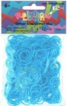 Rainbow Loom Elastiekjes - Rubber Bands Glitter Blauw - 300 stuks