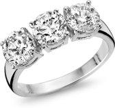 Silventi 943284389-54 Zilveren ring - ronde zirkonia Ø 6 en 5 mm - maat 54 - zilverkleurig