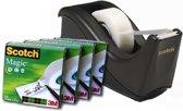 Scotch® Tape Dispenser C60, Zwart + 4 Rollen Scotch® Magic™ Tape 19 mm x 33 m